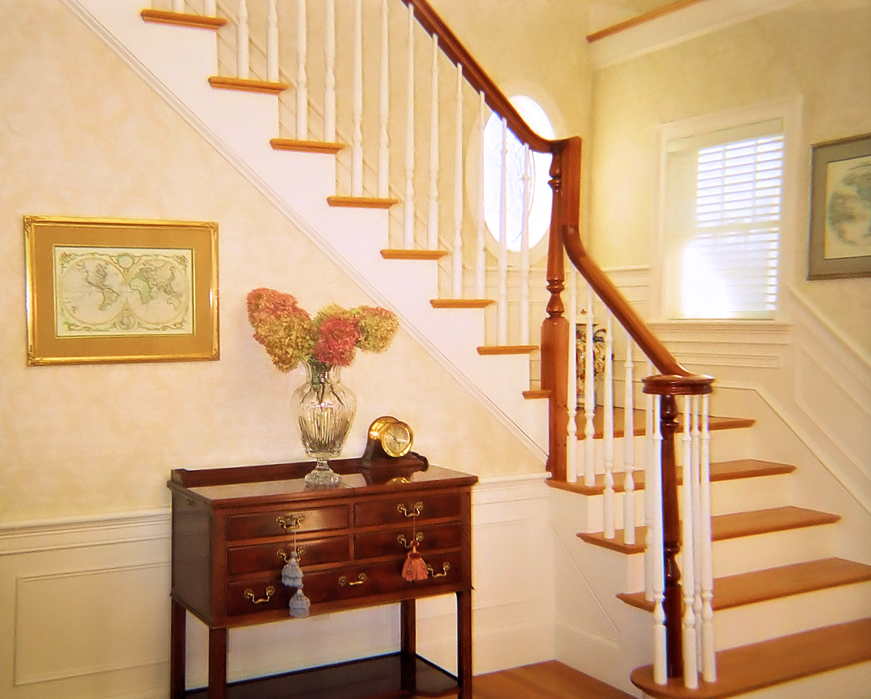 Formal Interior stairway with white risers