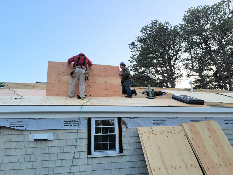 Our guys working on the roof replacing old plywood before new shingles.