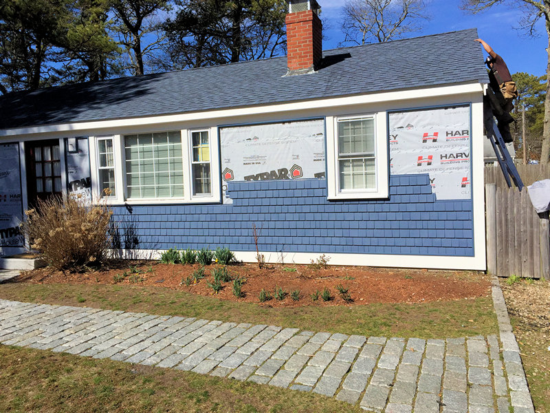 Vinyl shingles are maintenance free and quick to go up